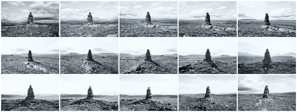"""PHOTOGRAPHIC STUDY OF TIME/LIGHT/SUBJECT OF SIGNIFICANCE """"15&15"""" , Fluðir, Iceland, 2012 15 photographs, dimensions variable"""